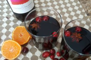 Mulled Wine with Floating Cranberries