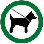 icon of dog on leash surrounded by green circle