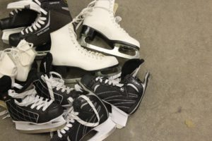 skates in a pile
