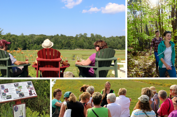 montage of people in muskoka chairs, hiking, taking a tour and looking at trail signs