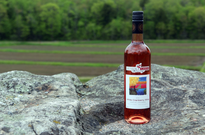 bottle of Muskoka Lakes Winery white cranberry wine