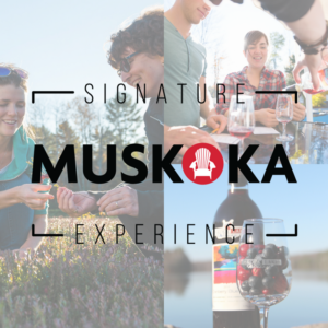 montage of wine tasting and tour guide showing visitor cranberries with Muskoka Signature Experience logo