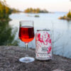 can and glass of cranberry splash wine spritzer on a rock overlooking a lake