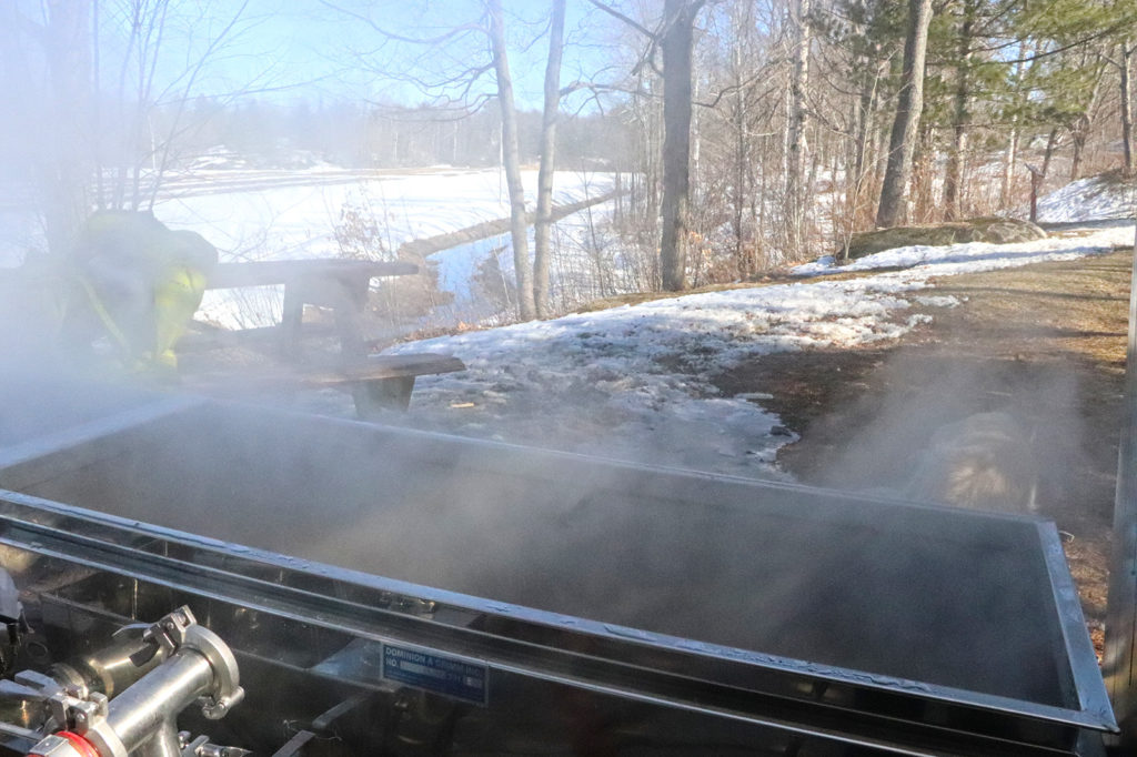 evaporator boiling sap into maple syrup