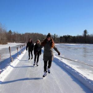 skating on the ice trail at muskoka lakes farm & winery in bala ontario