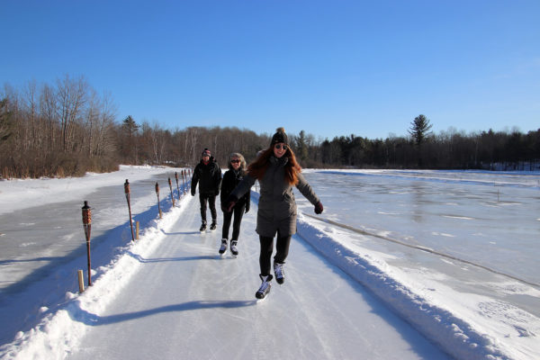 skating on the ice trail at muskoka lakes farm & winery in bala ontario