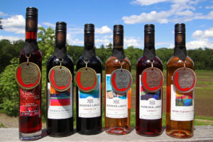 bottles of muskoka lakes wines with medals