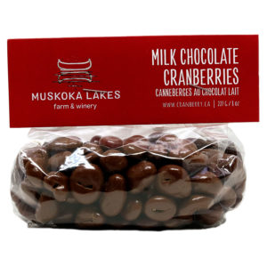 milk chocolate covered cranberries in a bag