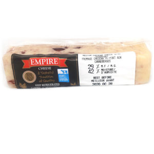 block of cranberry cheddar cheese