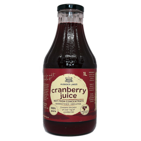 bottle of muskoka lakes pure cranberry juice