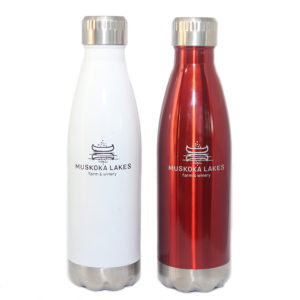 red and white insulated aluminum water bottle