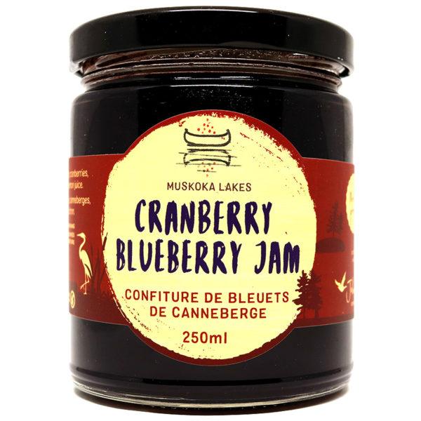 jar of mrs j's cranberry blueberry jam from muskoka lakes farm and winery