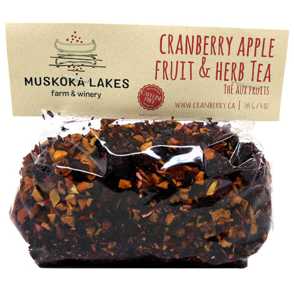 bag of cranberry apple herb tea from muskoka lakes farm and winery