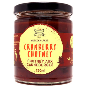 jar of mrs j's cranberry chutney from muskoka lakes farm and winery