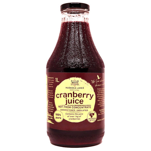 bottle of pure cranberry juice from muskoka lakes farm and winery