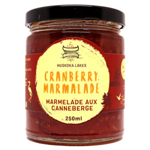 jar of mrs j's cranberry marmalade from muskoka lakes farm and winery