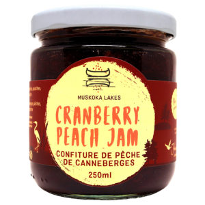 jar of mrs j's cranberry peach jam from muskoka lakes farm and winery
