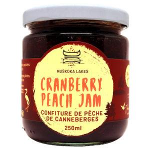 jar of mrs j's cranberry peach jam from muskoka lakes farm and winery