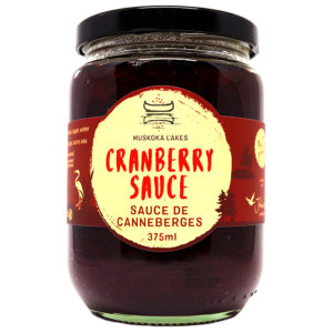 jar of mrs j's cranberry sauce from muskoka lakes farm and winery