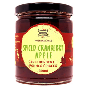 jar of mrs j's spiced cranberry apple preserve from muskoka lakes