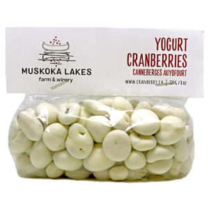 bag of yogurt covered cranberries from muskoka lakes farm and winery