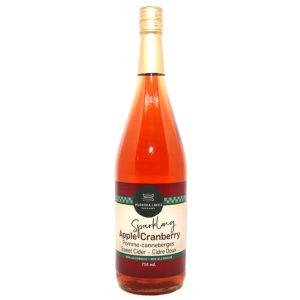 bottle of cranberry apple sparkling cider