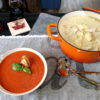 bowl of soup and pot of turkey and dumplings