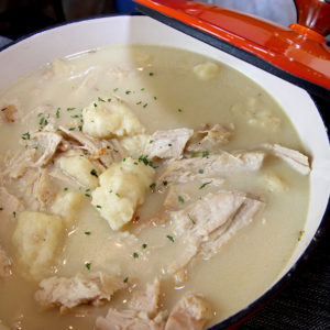 pot of turkey and dumplings