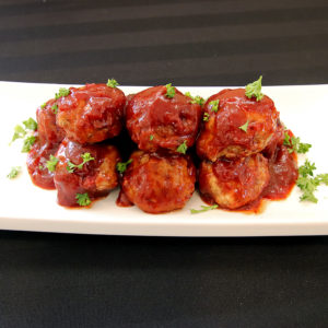 plate of turkey meatballs with cranberry glaze