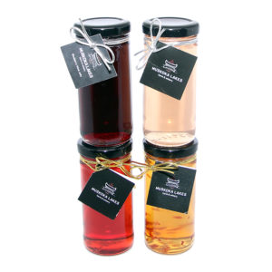 four bottles of wine jellies from muskoka lakes winery