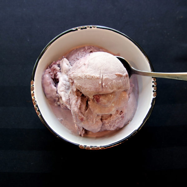bowl of muskoka lakes winery blueberry wine ice cream