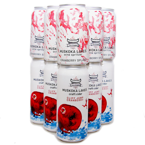 6 cans of cliff jump cranberry cider and 6 cans of cranberry splash wine spritzer from muskoka lakes