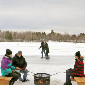 three people around a fire pit outside in winter with skaters in the background